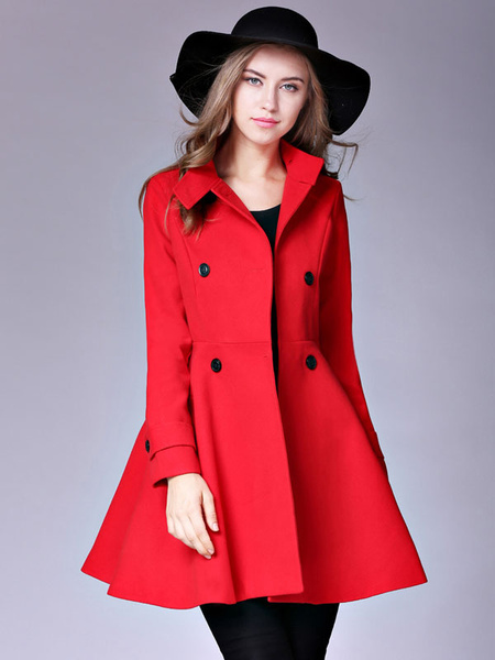 Red Winter Coat Stand Collar Long Sleeve Double Breasted Slim Fit Flared Windproof Outerwear
