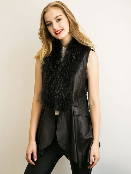 Black Sleeveless Jacket Longline PU Leather Faux Fur Irregular Edge Vest With Back Knotted Sash