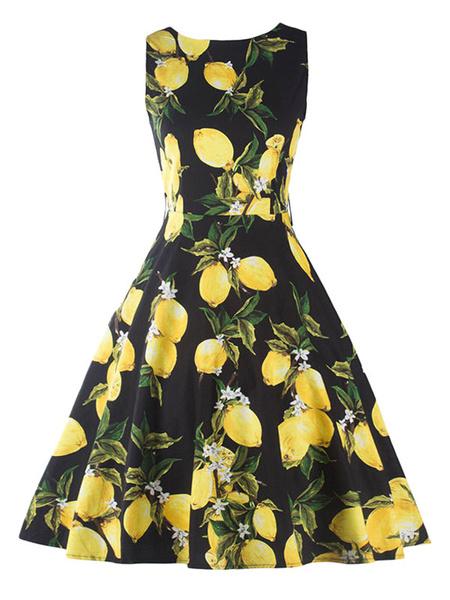 Robe Vintage noir femmes imprimé bijou cou arrondi plissé sans manches robe