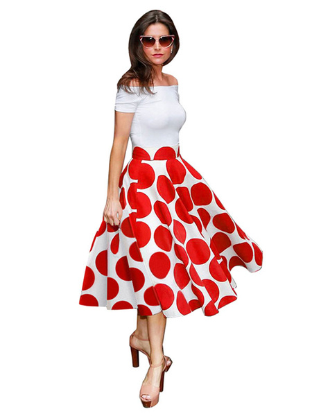 Women's Vintage Dresses Off-the-Shoulder Pleated Two Colors Polka Dot Retro Dresses фото