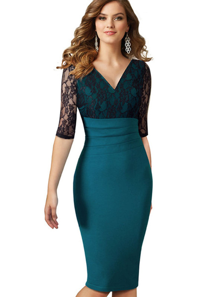 Green Bodycon Dress V Neck Lace Half Sleeve Peplum Slim Fit Sheath Dress фото