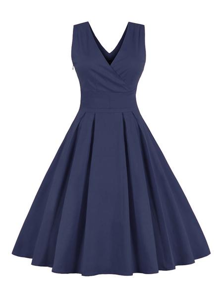Pleated Vintage Dresses V-neck Sleeveless Criss-Cross Women's Retro Dress In Red/blue фото