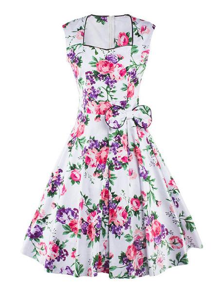 White Vintage Dress Women's Sleeveless Sweetheart Neckline Floral Bowed Flared Dress Milanoo