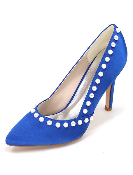 1db0a3a69b87 Blue Bridal Shoes High Heel Pointed Toe Pearl Slip-on Wedding Shoes ...