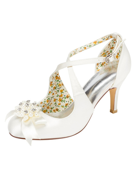 Ivory Wedding Shoes High Heel Vintage Round Toe Cross Front Rhinestone Pearl Bridal Shoes фото