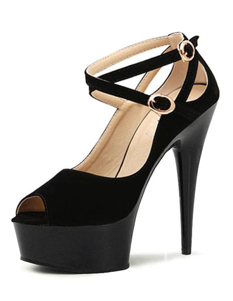 Milanoo / Zapatos de plataforma Piel sintética color liso cruzados sexy