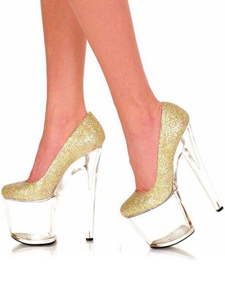 Platform Sexy Pumps Transparent Round Toe Slip-on Glitter Stiletto Heels (7.9 Inch) фото