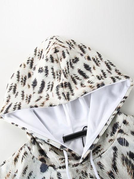 Tigre 3D Jersey beige con capucha hombres impreso con capucha Casual manga larga
