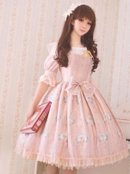 Classic Lolita Dress OP Big Bow Half Sleeve Little Angel Reciting Blessing Poem Lace Chiffon Printed фото