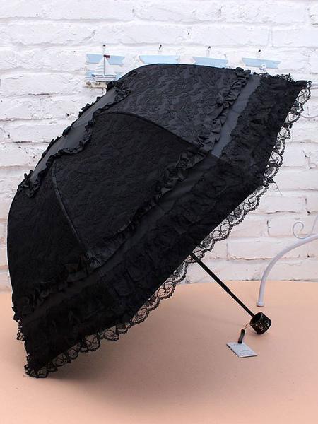 Sweet Lolita Umbrella Black Lace Princess Folded Lolita Parasols (usa39902617) photo