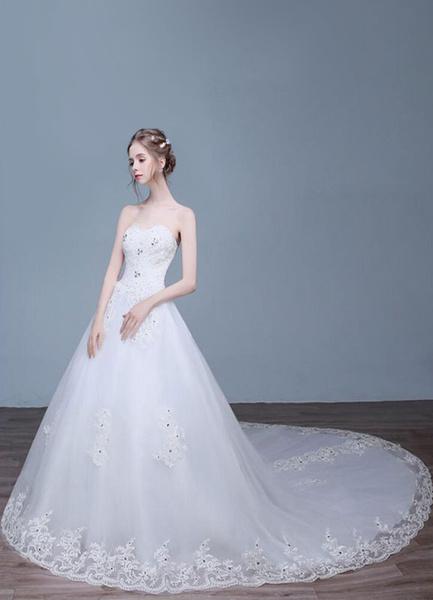 Lace Wedding Dress Strapless A-Line Sweetheart Neckline Rhinestone Beaded Bridal Dresses With Train фото