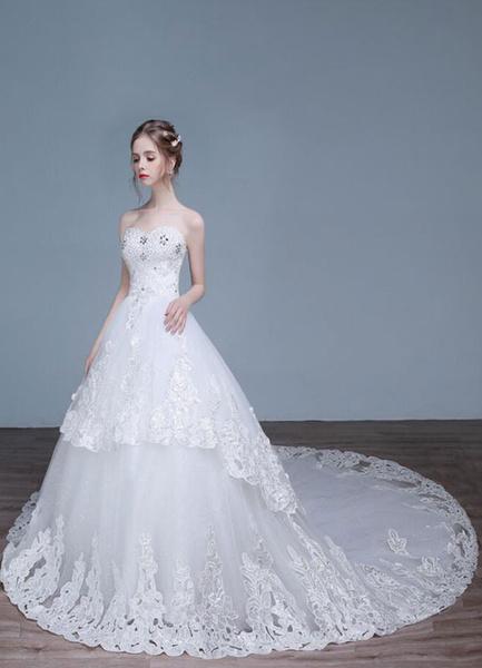 Dentelle mariage robe bustier a-ligne Sweetheart décolleté strass Sequins hiérarchisés robes de mari