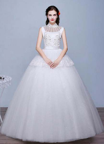 Ivory Wedding Dress Sleeveless Studded Stand Collar A-Line Lace Floor Length Lace Up Bridal Dress