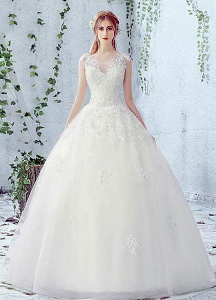 Lace Wedding Dress Scoop Neck Sleeveless Satin Net Lace Up Bridal Dress With Beads фото