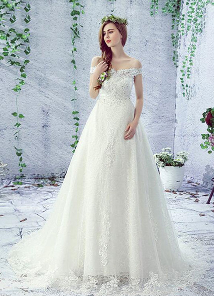 Lace Wedding Dress Off The Shoulder Rhinestones Lace Up A Line Chapel Train Bridal Dress фото