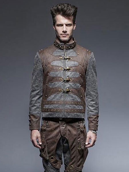 Gothic Steampunk Costume Halloween Men's Retro Costumes Gray Long Sleeve Jacket фото