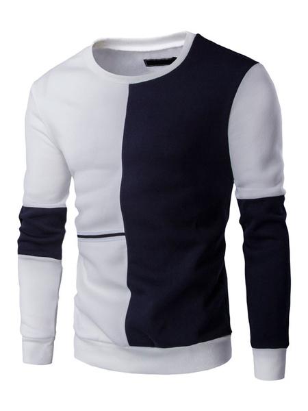 Men's Cotton Sweatshirt Color Block Jewel Neckline Long Sleeve T-shirt Milanoo