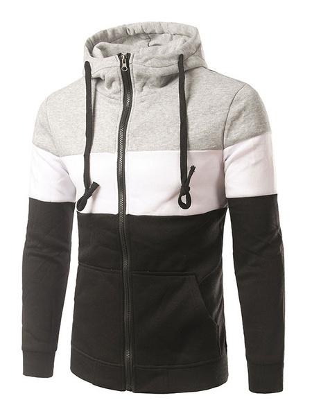 Men's Hoodie Jacket Color Block Cotton Casual Zip Up Hoodie фото
