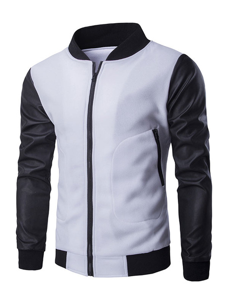 Men's Zipper Hoodie Leather Sleeve Stand Collar Color Block Casual Outwear фото