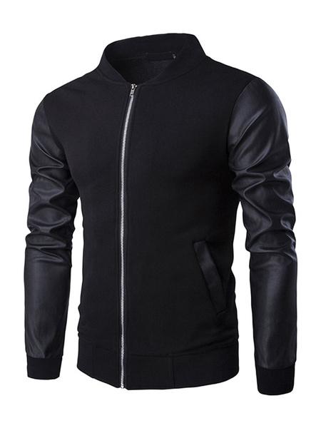 Черная Молния Бейсбол куртка реглан кожа рукав мужская спортивная куртка
