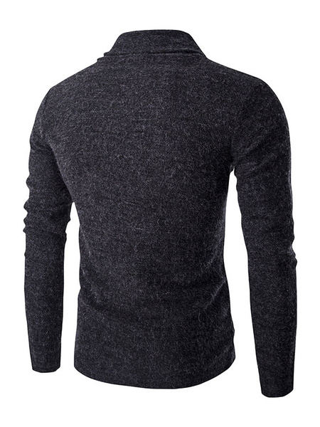 Milanoo / Stehkragen Pullover Herren Langarm schrägen Tasten Pullover Pullover