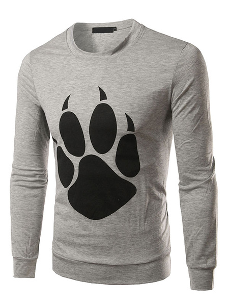 Long Sleeve T-shirt Men's Bear Paw Printed Round Neck Cotton T-shirt