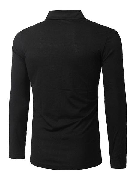 Milanoo / Herren Polo Shirt Langarm Brief drucken graue Baumwoll T-shirt