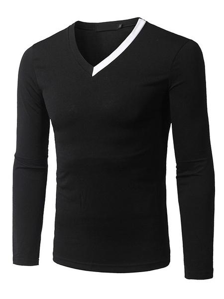 Men's Black T-Shirt Long Sleeve V Neck Slim Fit Cotton T-Shirt фото