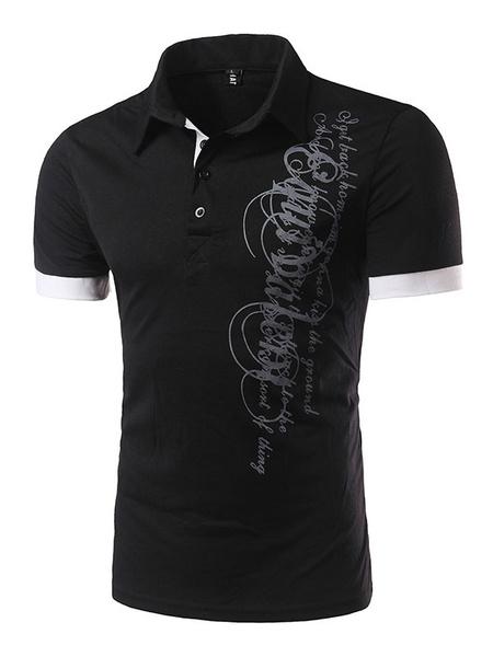 Men's Polo Shirts Black Men's Letter Print Short Sleeve Cotton T-shirt фото