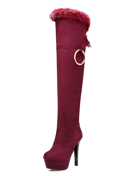 High Heel Boots Knee High Women's Suede Platform Fur Zipper Round Toe High Boots фото