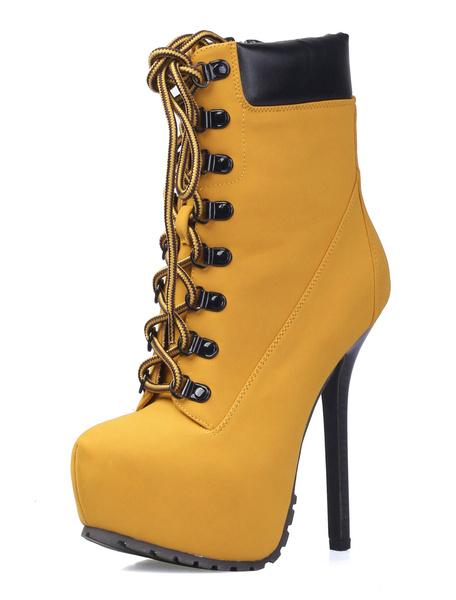 High Heel Booties Women's Platform Lace Up Earth Yellow Zipper Almond Toe Short Boots фото