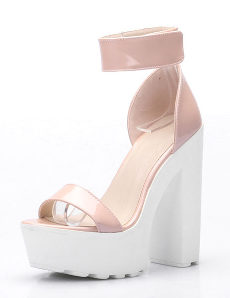 Platform High Heels Ankle Strap Women's Chunky Heel Ombre Open Toe Sandals(5.5)