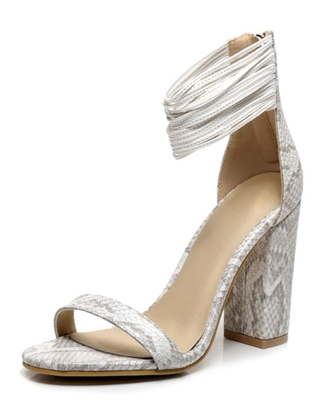 High Heel Sandals Women's Snake Print Ankle Strap Zipper Chunky Heel Dress Sandals