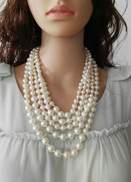 Perle Hochzeit Halskette weiß Retro-Anweisung Brautschmuck