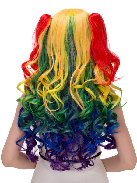 Halloween Hair Wigs Women's Multicolor Bunched Long Curly Synthetic Wigs фото