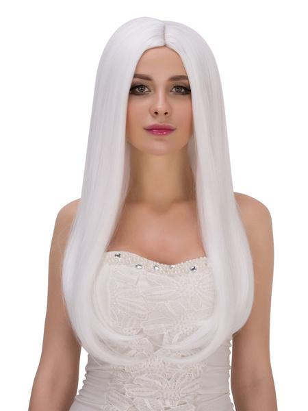 Halloween Long Wigs Women's White Straight Synthetic Hair Wigs фото