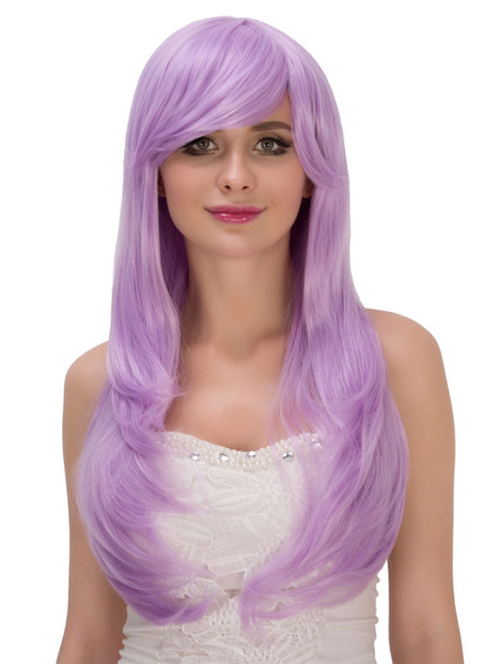 Halloween Long Wigs Lilac Curls At Ends Side Swept Synthetic Wigs For Women фото