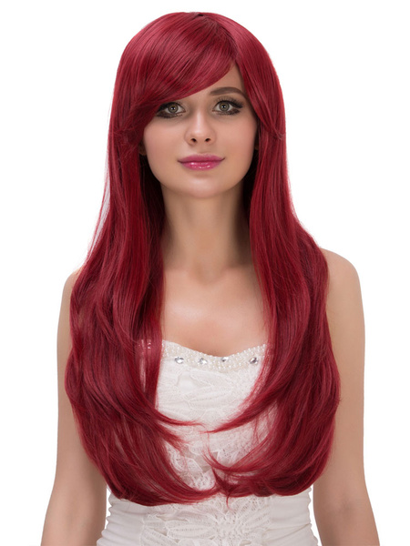 Halloween Long Wigs Burgundy Women's Side Swept Curls At Ends Synthetic Wigs фото