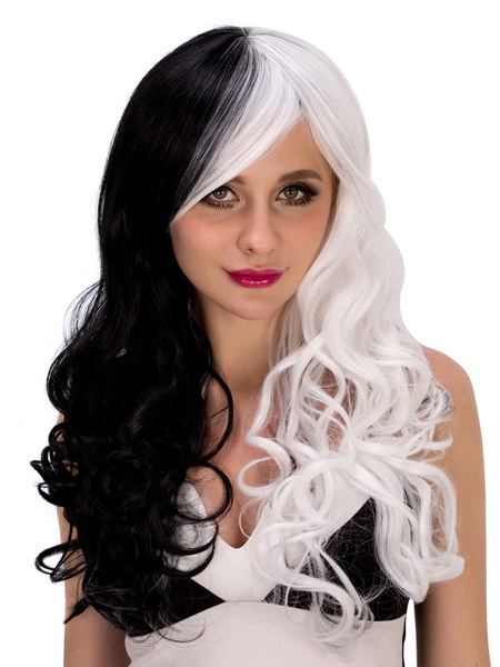 Halloween Curly Wigs Long Layered Women's Synthetic Hair Wigs In Black And White фото