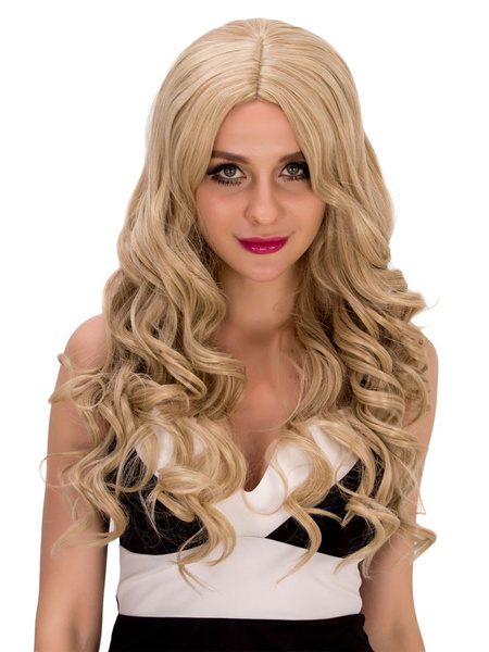 Halloween Long Wigs Curly Flaxen Women's Centre Parting Wavy Synthetic Hair Wigs фото