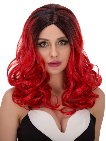 Halloween Curly Wigs Red Black Ombre Women's Centre Parting Synthetic Long Hair Wigs фото