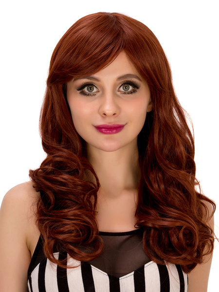 Women's Long Wigs Halloween Red Curly Crimped Curls With Side Swept Bangs For Women фото