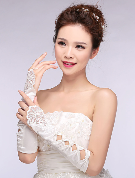 Ivory Wedding Gloves Lace Cut Out Bowed Fingerless Satin Bridal Gloves Milanoo