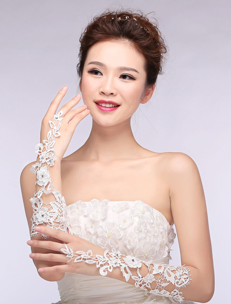 Lace Wedding Gloves Ivory Ribbon Cut Out Flower Fingerless Elbow Length Bridal Gloves фото