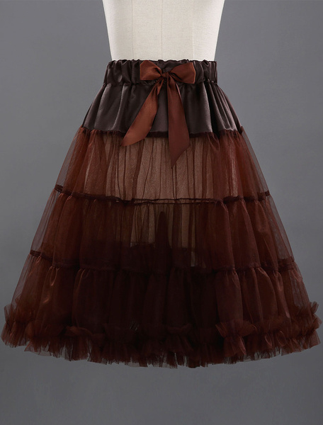 Boneless Short Petticoat A-line 2-tier Net Knee Length Color Petticoat, Coffee brown;black;red;apricot;royal blue;light sky blue;chocolate;lilac;grey;beige;orange