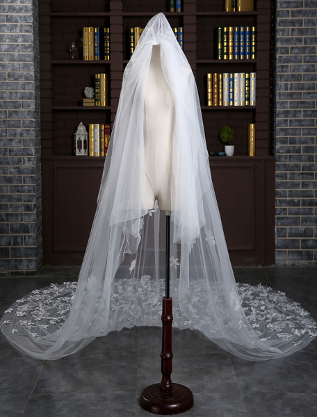Cathedral Wedding Veil Lace Applique Flowers Tulle 2-Tier Cut Edge Long Bridal Veil With Comb