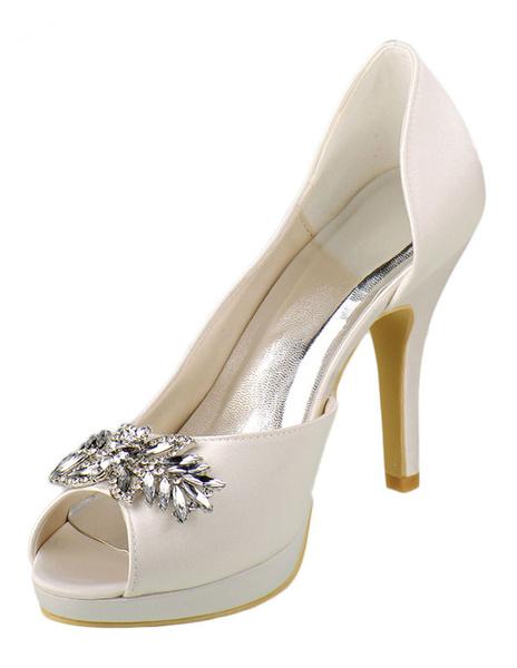 Ivory Wedding Shoes High Heel Satin Peep Platform Crystal Bridal Shoes With Rhinestone фото
