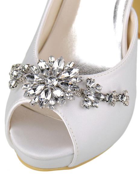 Milanoo / Zapatos con plataforma para novias de satén de marfil color liso con pedrería estilo moderno