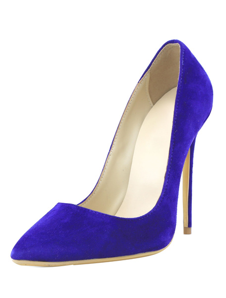 Suede High Heels Leather Royal Blue Women's Pointed Toe Slip-on Pumps фото