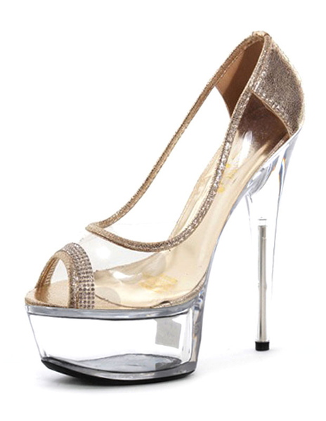 Sexy High Heels Peep Toe Platform Transparent Slip-on Stiletto Heel Pumps (5.9 Inch) фото